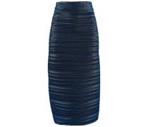 Metallic Plissé-cady Midi Pencil Skirt Navy