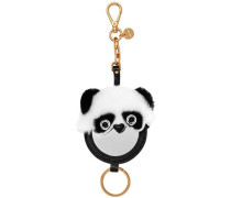 Leather And Shearling Keychain Black Size --