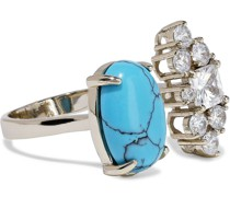 Woman 18-karat Gold-plated, Turquoise And Crystal Ring Turquoise