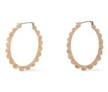 Scalloped Brushed 22-karat Gold-plated Hoop Earrings Gold Size --