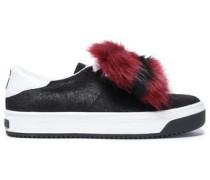 Faux Fur-trimmed Suede Sneakers Black