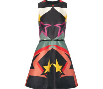 Belted flared printed crepe-satin mini dress