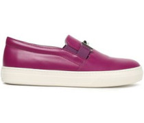 Embellished Leather Slip-on Sneakers Purple