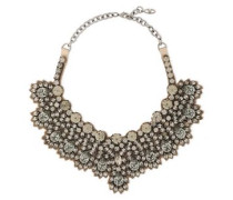 Woman Silver-tone, Satin And Crystal Necklace Gunmetal