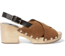 Zane Studded Leather And Suede Clogs Light Brown