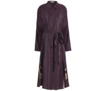 Lace-trimmed textured-shell shirt dress