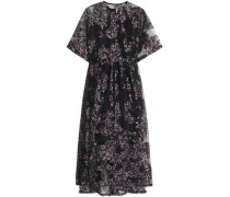 Gathered floral-print organza midi dress