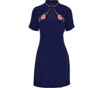 Amelie embroidered crepe de chine mini dress