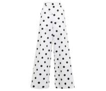 Woman Polka-dot Cotton-twill Wide-leg Pants White