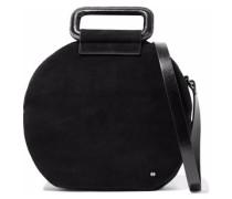 Glossed leather-trimmed suede shoulder bag