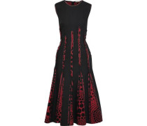 Polka-dot Crepe De Chine-paneled Cotton-blend Midi Dress Black