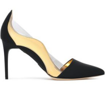 Camille PVC-trimmed metallic and matte leather pumps