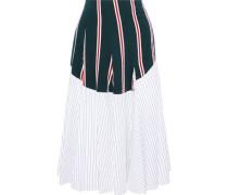 Godet Paneled Striped Cotton-poplin Midi Skirt White