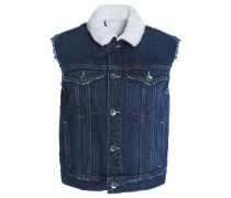 Faux fur-lined denim vest