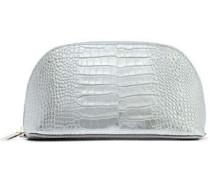 Mara Metallic Croc-effect Leather Cosmetics Case Silver Size --