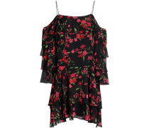 Off-the-shoulder tiered floral-print crepe mini dress