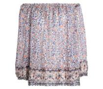 Off-the-shoulder metallic floral-print silk top