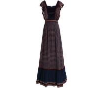 Paneled velvet and silk-crepe maxi dress
