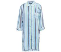 Striped Mousseline Nightshirt Light Blue