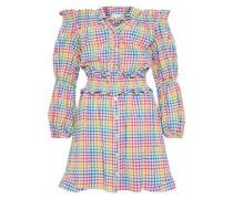 Peasant Off-the-shoulder Gingham Seersucker Mini Dress Multicolor