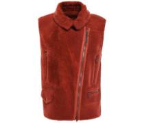 Leather-trimmed Bead-embellished Shearling Vest Brick