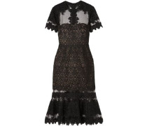 Fluted Guipure Lace And Tulle Midi Dress Black Size 0