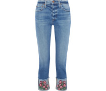 Woman Amazing Cropped Embroidered High-rise Slim-leg Jeans Mid Denim