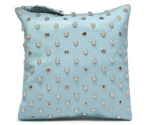 Embellished Textured-leather Clutch Azure Size --