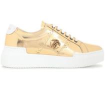 Appliquéd Metallic Cracked-leather Platform Sneakers Gold