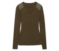 Peyton Ribbed Cotton And Cashmere-blend Sweater Army Green