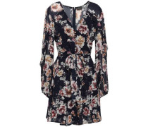 Ruffled Floral-print Silk-georgette Mini Dress Navy