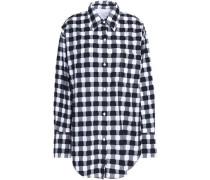 Gingham fil coupé cotton-poplin shirt