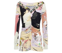 Ruched Printed Jersey Top Black