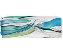 Malia Twisted Striped Satin-twill Headband Green Size --