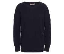 Woman Ribbed Cotton And Cashmere-blend Sweater Navy