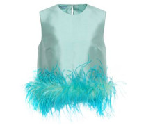 Woman Feather-trimmed Wool And Silk-blend Faille Top Light Blue