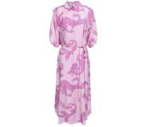 Printed Jacquard Midi Shirt Dress Lilac