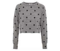Brushed Roos Cropped Printed Stretch-jersey Sweatshirt Gray