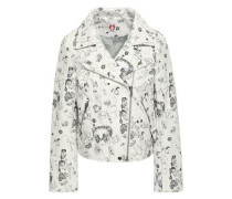 Embroidered Faux Patent-leather Biker Jacket White