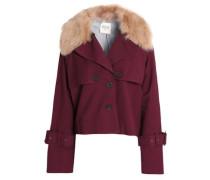 Shearling-trimmed cotton-blend jacket