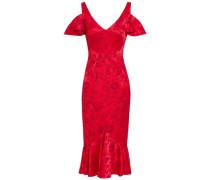 Cold-shoulder Ruffled Floral-jacquard Dress Red