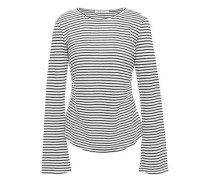 Glitter-embellished Striped Linen And Cotton-blend Top Black