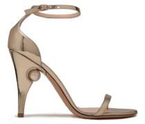 Embellished Mirrored Leather Sandals Platinum