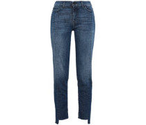 Distressed Mid-rise Slim-leg Jeans Dark Denim  5