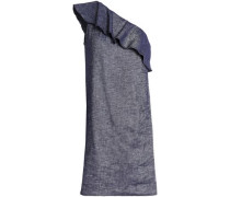 One-shoulder ruffled linen-blend chambray mini dress