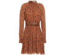 Belted Leopard-print Silk-georgette Mini Dress