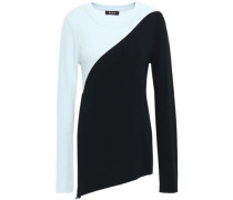 Two-tone Ribbed Intarsia-knit Sweater Sky Blue