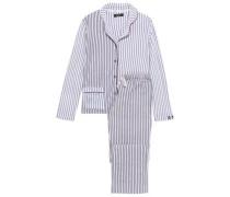 Striped Fleece Pajama Set Gray