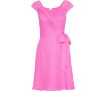 Emma Crepe De Chine Mini Wrap Dress Bright Pink