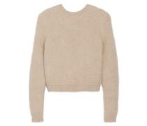 Beige angora-blend sweater with elasticated back band